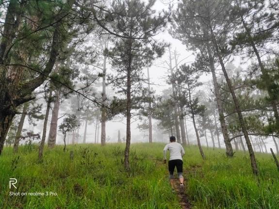 Chạy bộ trên một ngọn đồi đầy sương vắng vẻ vào sáng sớm, là một trải nghiệm độc đáo với anh chàng mê thể thao, ưa vận động này.