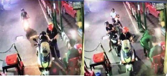 Camera ghi lại hình ảnh nạn nhân Phúc (đội nón đỏ) mua vé và đi vào bến phà Cát Lái rạng sáng 27/8. (Ảnh: Tuổi Trẻ).