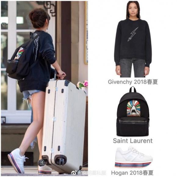 Có ai nghĩ đây là bà mẹ 1 con khi cô nàng vô cùng trẻ trung với hoodie Givenchy (khoảng 16 triệu), balo cực hot của Saint Laurent (khoảng 30 triệu) và sneaker trắng của Hogan (khoảng 14 triệu).