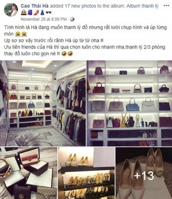 Trước đây, có không ít nghệ sĩ từng đăng tải việc muốn thanh lý tủ đồ lên trang cá nhân, đơn cử như Cao Thái Hà…