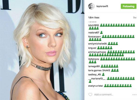 Trang cá nhân của Taylor Swift từng ngập tràn emoji hình con rắn.