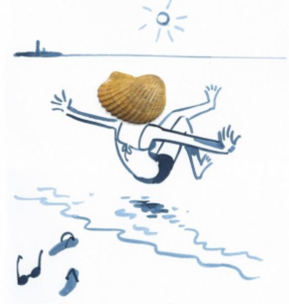 """Cô nàng tóc """"vỏ sò"""" đang nhảy xuống tắm biển"""