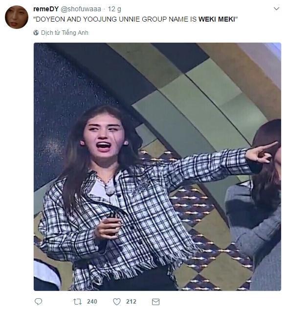 """Jeon Somi hẳn là đang khóc ngất trong WC, sau đó sẽnép mình một góc tường để tự nhủ: """"Nhóm của chị Doyeon và Yoojung tên là Weki Meki,Nhóm của chị Doyeon và Yoojung tên là Weki Meki""""…"""
