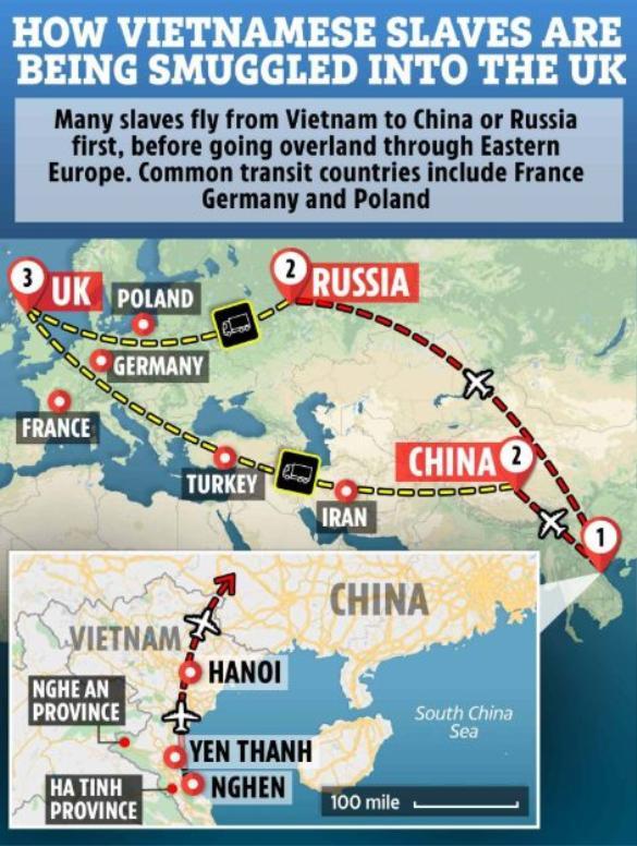 """Tuyến đường mà người nhập cư phi pháp từ Việt Nam hay sử dụng để """"đi chui"""" vào Anh."""