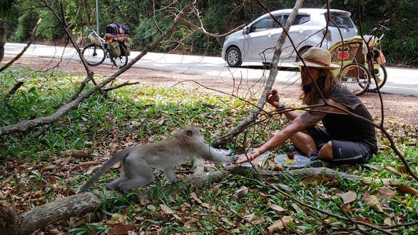 Hoa Việt chơi đùa, chia sẻ thức ăn với một chú khỉ trong hành trình chạy bộ đến Singapore – Ảnh: NVCC