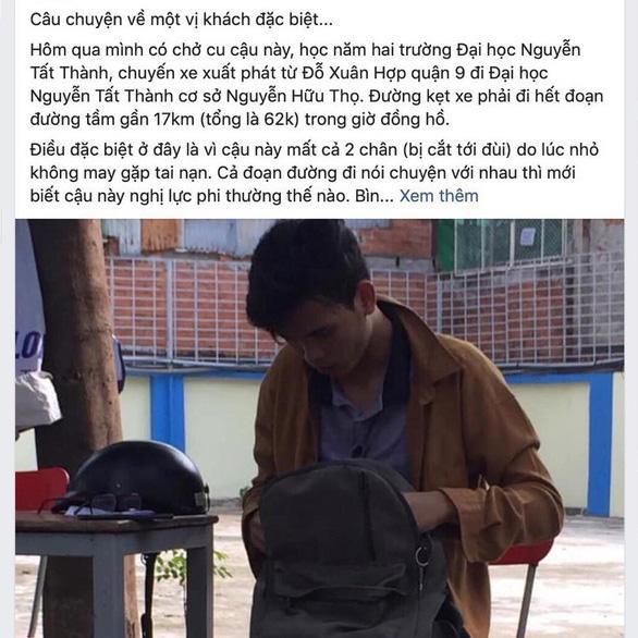 Câu chuyện xúc động của tài xế Grab về chàng sinh viên Đại học Nguyễn Tất Thành bị cụt cả 2 chân.