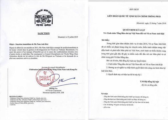Quyết định cách chức ông Kiệt của Liên đoàn quốc tế Vịnh Xuân chính thống phái. (Ảnh: Tuổi Trẻ).