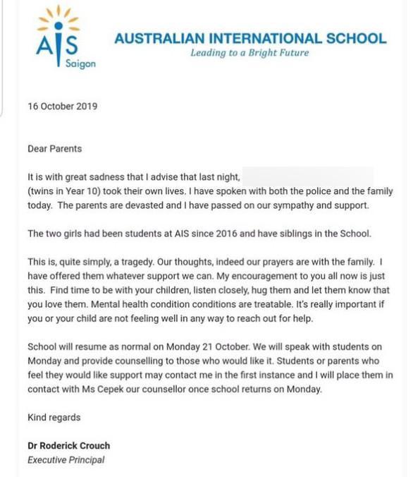 Trường Quốc tế Australia (AIS) đã gửi thông báo đến phụ huynh về sự việc một cặp song sinh là học sinh của trường tự tử tại nhà riêng