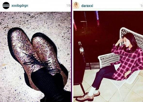 Sở hữu những đôi giày giống nhau như đúc. Thậm chí chiếc giày to quá cỡ khiến nhiều người cho rằng Dara đã đi giày của GD để chụp hình.