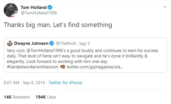 The Rock bày tỏ mong muốn được hợp tác với Tom Holland và anh chàng cũng rất hào hứng khi chia sẻ lại điều này.