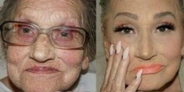 Tấm hình trước và sau khi thực hiện make up của cụ bà 80 tuổi.