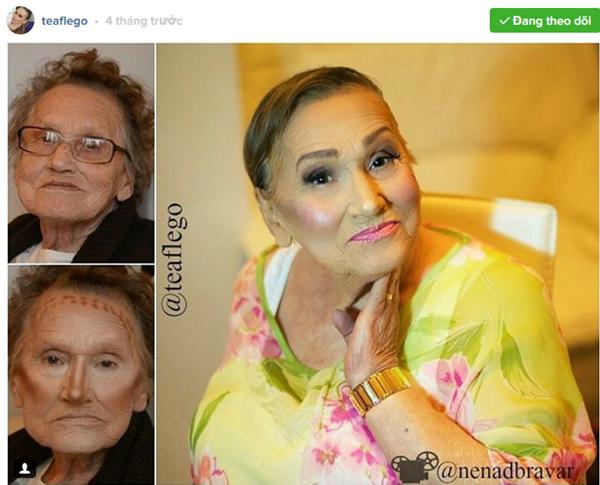 Cụ bà 80 tuổi trẻ hơn chục tuổi nhờ tài make up ảnh 3