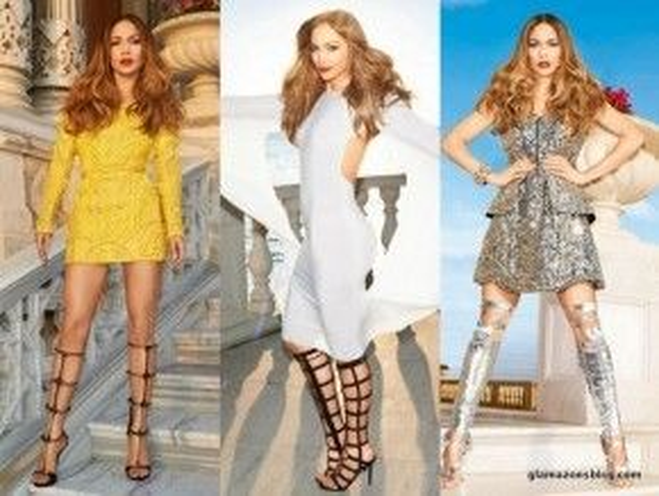 Cô ca sĩ da màu Jennifer Lopez với 3 đôi sandal chiến binh với 3 phong cách khác nhau trên tạp chí Harper's Bazaar.