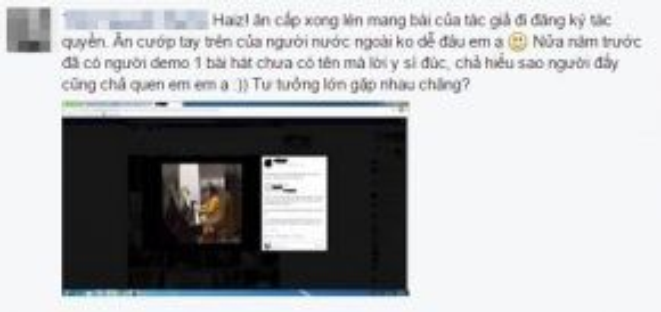 """Facebook T.N.N chia sẻ: """"Nửa năm trước đã có người demo 1 bài hát chưa có tên mà lời y sì đúc, chả hiểu sao người đấy cũng chả quen em, em ạ. Tư tưởng lớn gặp nhau chăng?"""""""