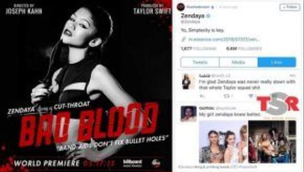 Zendaya vào cuộc khi like 2 tweet nói xỏ Taylor. Nữ ca sĩ này trước đây đã từng tham gia cameo trong MV Bad Blood của đồng nghiệp.