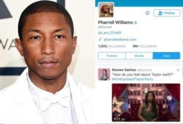 Vị giám khảo The Voice US Pharrell Williams cũng nối gót Zendaya nhấn like status nói xỏ Taylor.