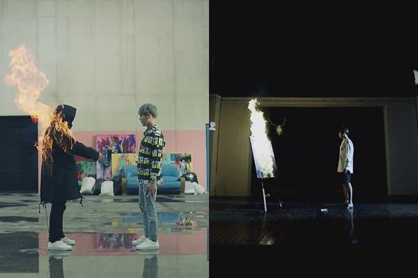 Thậm chí tình tiết trong MV Fire trước đó cũng được đưa ra để so sánh.