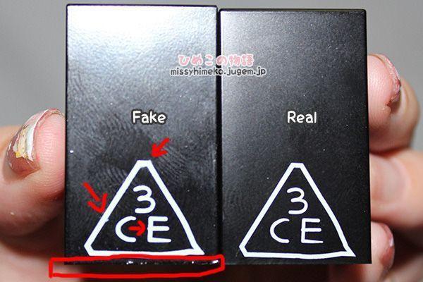 Hàng nhái của 3CE có ký tự dày, thiếu thanh mảnh và nhòe hơn hẳn hàng chính hãng