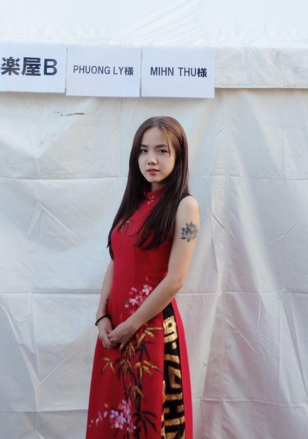 Cận cảnh nhan sắc xinh đẹp của Phương Ly trong tà áo dài truyền thông.