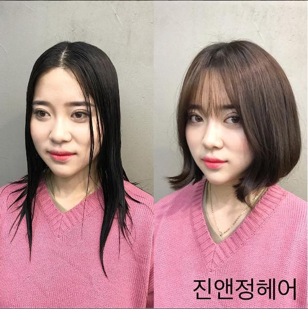Bạn đang để tóc rẽ ngôi và thực sự nó khiến khuôn mặt bạn có cảm giác lớn hơn và hơi bạnh, vậy tiếc gì mà không thử kiểu cắt ngắn này. Nếu khuôn mặt bạn dài, có phần góc cạnh hãy để tóc ngắn đến phần cổ,. Phần đuôi tóc được uốn vểnh ra ngoài tạo cho mái tóc có kiểu cách sống động, đồng thời kết hợp với tóc mái thưa Hàn Quốc thời thượng thì gương mặt của bạn đã trở nên thon gọn đáng kể.