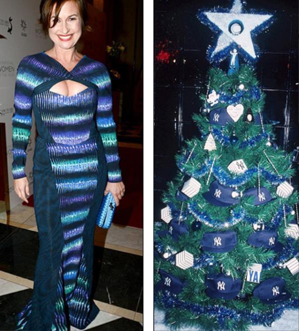 Ngôi sao truyền hình Emma Forbes chọn cho mình trang phục với tông màu xanh làm chủ đạo. Sự pha trộn các dải màu như ánh đèn rực rỡ trên cây thông