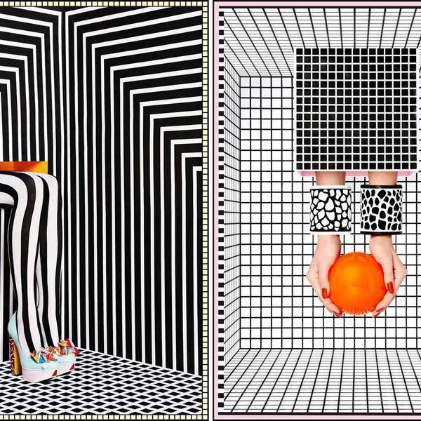 Các khối hình học trắng đen đặt cạnh nhau