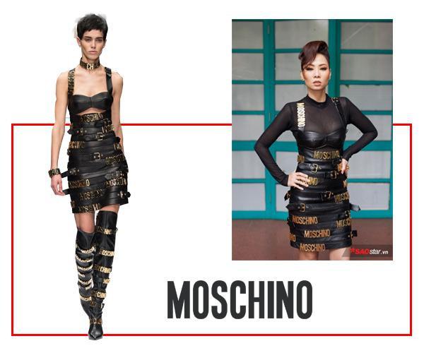 Thu Minh khiến mọi người bất ngờ với mẫu đầm da vô cùng gợi cảm nhưng cũng đầy nét cá tính đến từ thương hiệu Moschino.
