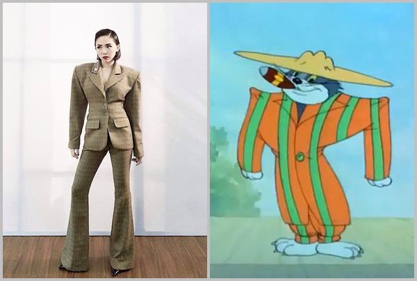 Trang phục của Tóc Tiên gây tranh cãi mấy ngày nay rất giống với chú mèo Tom.