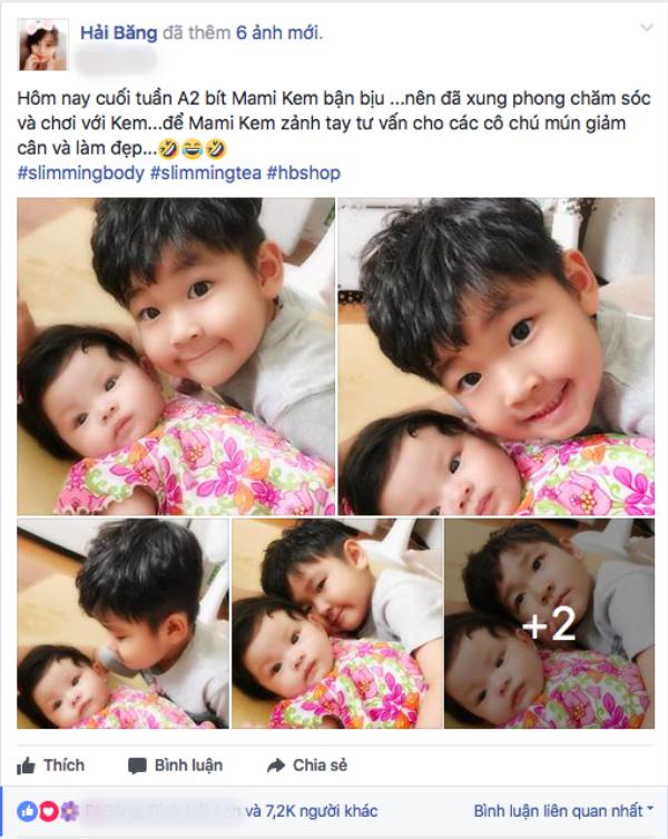 Hải Băng chia sẻ hình ảnh con trai Thành Đạt sang thăm và chơi cùng em Kem.