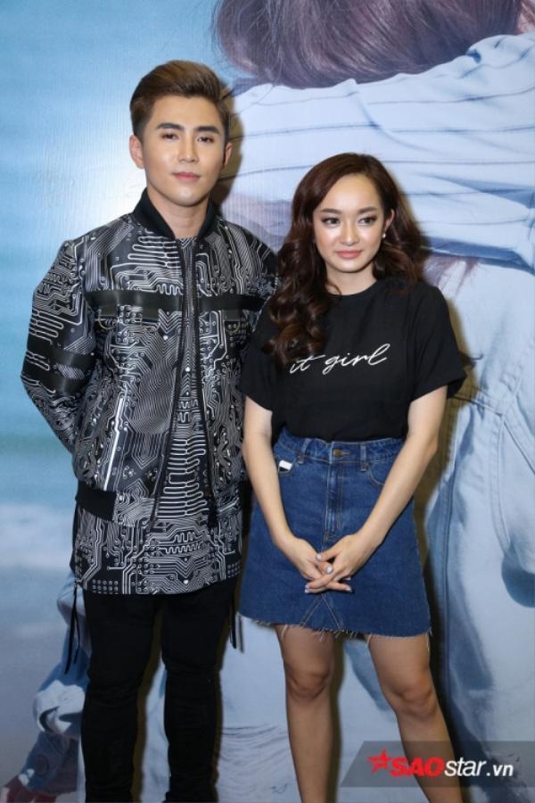 Will và nữ diễn viên Kaity Nguyễn trong buổi ra mắt MV cách đây ít giờ. Ảnh: Đinh Trung Tín