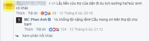 Một cư dân mạng bình luận khá tiêu cực khi MC Phan Anh livestream.