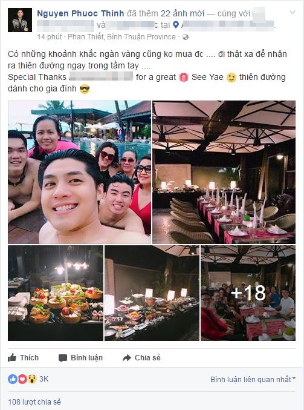 Noo Phước Thịnh chia sẻ hình ảnh mới nhất trong chuyến du lịch của mình cùng bố mẹ và người thân trên trang cá nhân.