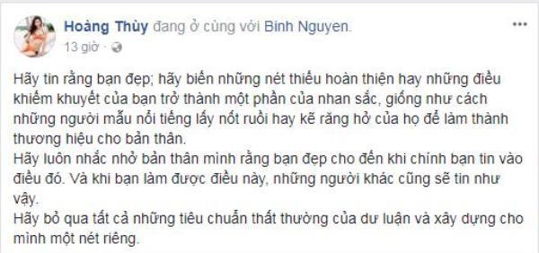 Trước nhiều ý kiến cho rằng gương mặt và vóc dáng không phù hợp với tiêu chí của cuộc thi Hoa hậu Hoàn vũ Việt Nam 2017, Hoàng Thùy đã có những chia sẻ thẳng thắn.