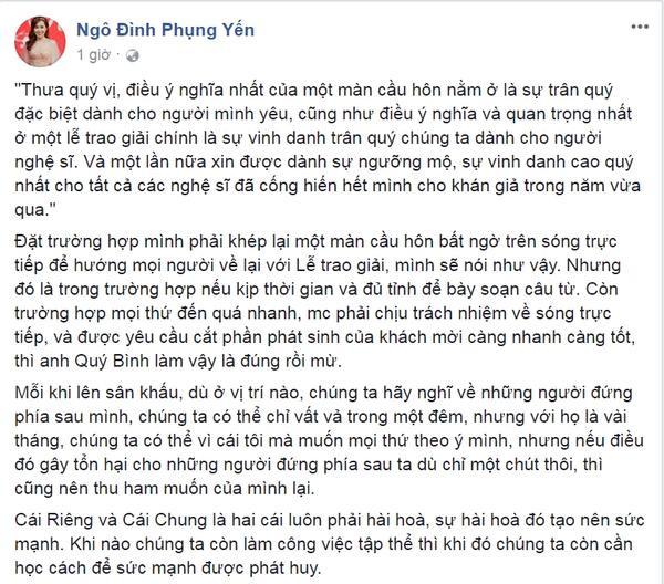 Dòng trạng thái xoay quanh câu chuyện đêm giải Mai vàng của MC Phụng Yến.
