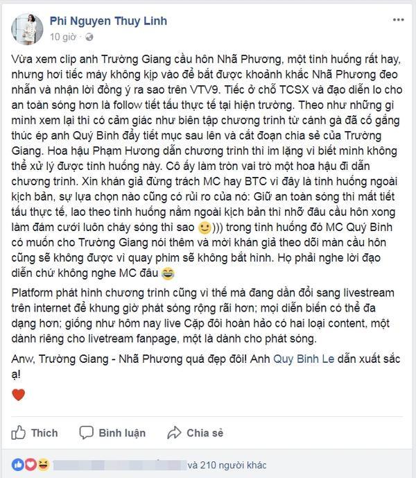 Quan điểm đa chiều MC Phí Nguyễn Thùy Linh về việc Trường Giang chiếm sóng truyền hình trực tiếp.