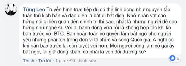 Với MC Tùng Leo, hành động của Trường Giang là không hợp tác khi không bàn trước với BTC.