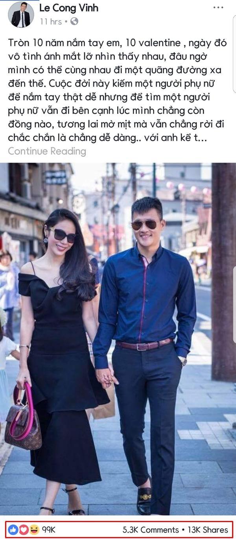 Mới đây, chia sẻ của Công Vinh tặng vợ nhân dịp Valentine nhận được sự ủng hộ lớn từ cộng đồng mạng. Tuy không hoạt động nghệ thuật nhưng fanpage của danh thủ điển trai cũng có lượt theo dõi vượt ngưỡng 1 triệu.