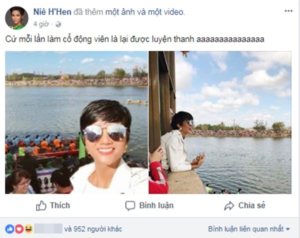 Tân Hoa hậu Hoàn vũ Việt Nam H'Hen Niê diện trang phục giản tham gia cổ vũ trong lễ hội đua thuyền tại buôn làng.