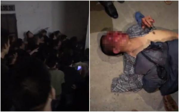 Hình ảnh rất đông người dân tụ tập tại UBND xã và hình ảnh người đàn ông bị đánh vì nghi ngờ bắt cóc.