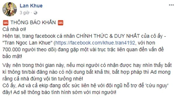 Thông báo khẩn từ Fanpage Lan Khuê dành cho các fan.