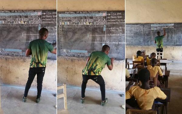 Hình ảnh đang gây xúc động mạnh của thầy giáo 33 tuổi Richard Appiah Akoto.