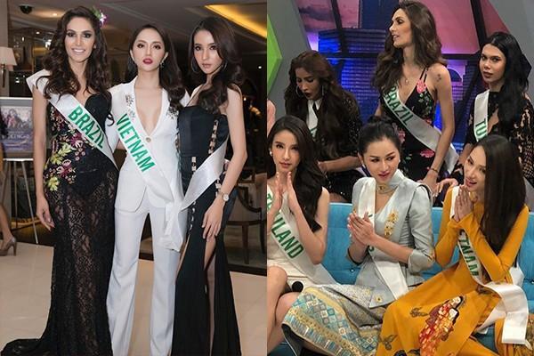 Hương Giang tập trung vào các hoạt động trong khuôn khổ cuộc thi để gây thiện cảm với ê-kíp Hoa hậu Chuyển giới Quốc tế.