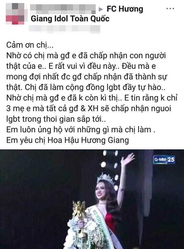 Bài đăng đầy cảm xúc của một khán giả hâm mộ dành cho Hương Giang.