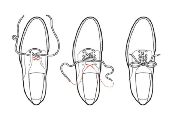 Buộc dây giày kiểu xương cá.