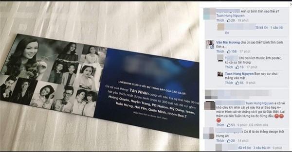 Tuấn Hưng bày tỏ bức xúc vì tấm vé bị cho là thiếu tôn trọng nghệ sĩ.