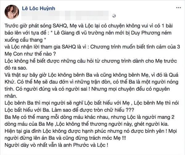 Con gái Duy Phương và Lê Giang cho rằng người bị dày vò nhất chính là cô và anh trai sau cơn sóng gió gia đình.