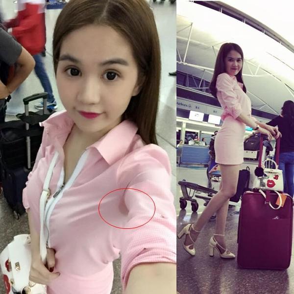Tự tin selfie tại sân bay cùng gương mặt xinh xắn và outfit đáng yêu nhưng Ngọc Trinh có lẽ quên kiểm tra… vùng áo dưới cánh tay.