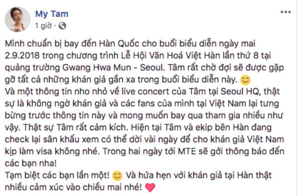 Dòng chia sẻ của Mỹ Tâm gây xôn xao về việc có thể nữ ca sĩ sẽ dời ngày diễn ra Concert.