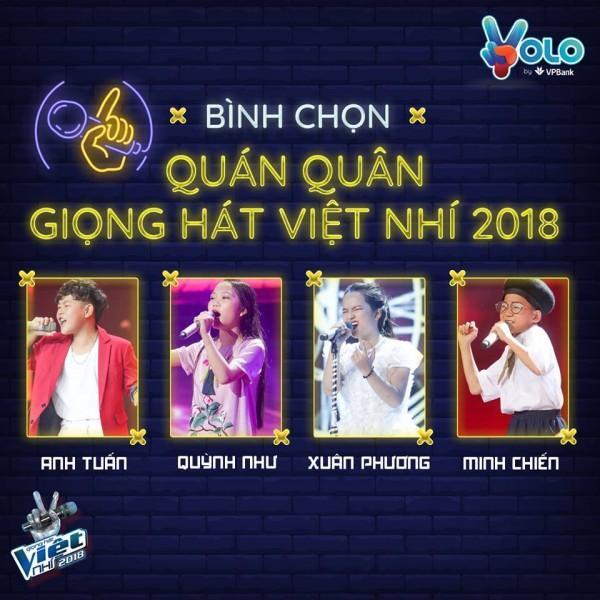 Sau đêm 29/12, tân Quán quân của The Voice Kids 2018 sẽ chính thức lộ diện từ 4 giọng hát trẻ tài năng này.