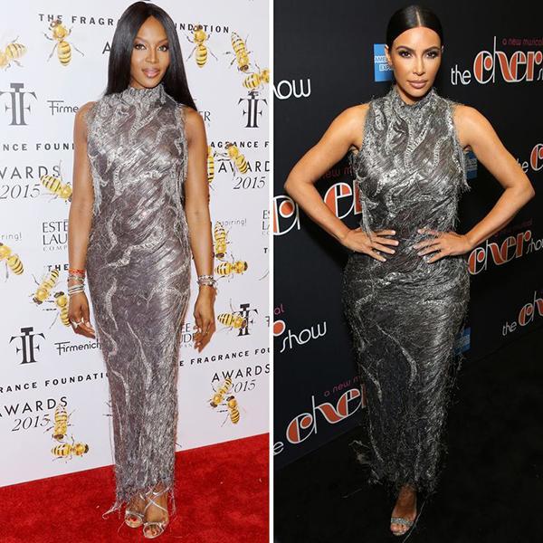 Cùng một chiếc váy với hai sắc thái khác nhau giữa ngôi sao truyền hình thực tế và siêu mẫu đình đám của làng thời trang. Có người cho rằng nàng Kim chắc hẳn hâm mộ Naomi Campbell lắm nên mới bắt chước style y chang rất nhiều lần như thế